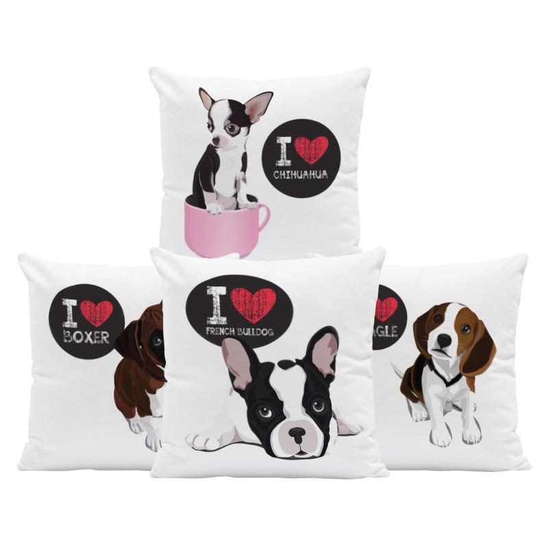 Beagle Chihuahua Kissen Boston Terrier Rosa Dober Kissenbezug Weiße Garten Hund Liebhaber Geschenke Werfen Kissen Abdeckung 45X45Cm Samt