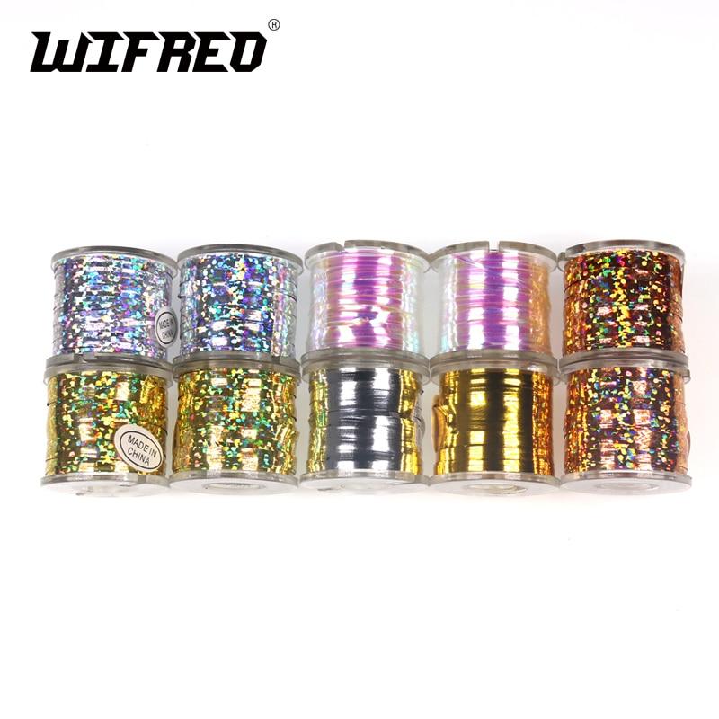 Wifreo 1 Катушка для завязывания мушек, Микс, лента с жемчугом, голографическая, оранжевая, золотая, серебряная, стример, прорезыватель, материал для завязывания мушек
