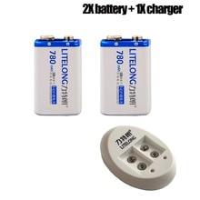 2 STKS 9 V Ion 780 mAh Microfoons Batterij en een oplader voor Stapel PP3 6LR61 6LR21 MN1604 6LF22