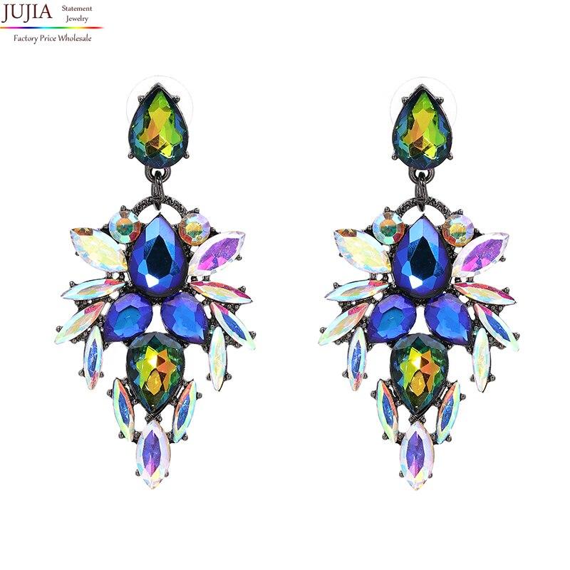 JUJIA 3 вида цветов хорошее качество богемные серьги Хорошее качество ювелирные изделия Кристалл Многоцветный особый богемный большие серьги...