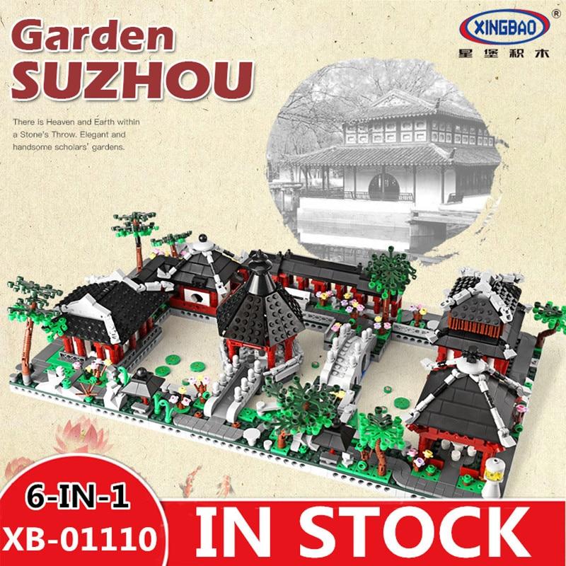 H & HXY XingBao 01110 Style chinois série de construction 6 en 1 chinois Suzhou jardin modèle ensemble blocs de construction briques jouets pour Childre
