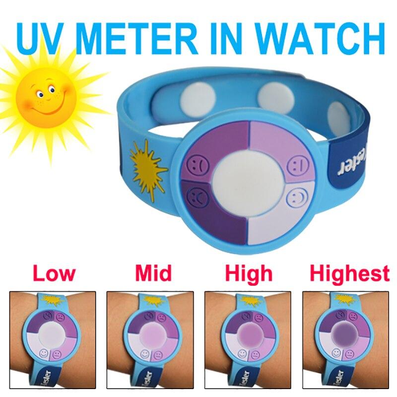 Mudança da cor DO PVC 15 pçs/lote Atividades Ao Ar Livre Proteger UV Radiação relógio/medidor de raios uv
