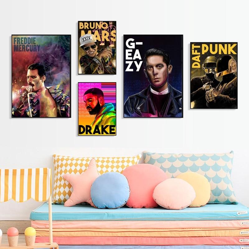 Musik Star Daft Punk Freddie Mercury Drake Bruno Mars Kunst Poster Leinwand Druck Wand Kunst Wohnkultur