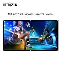 HENZIN     ecran de Projection Portable pliable en Polyester  100 pouces  HD 16 9  pour Home cinema en plein air