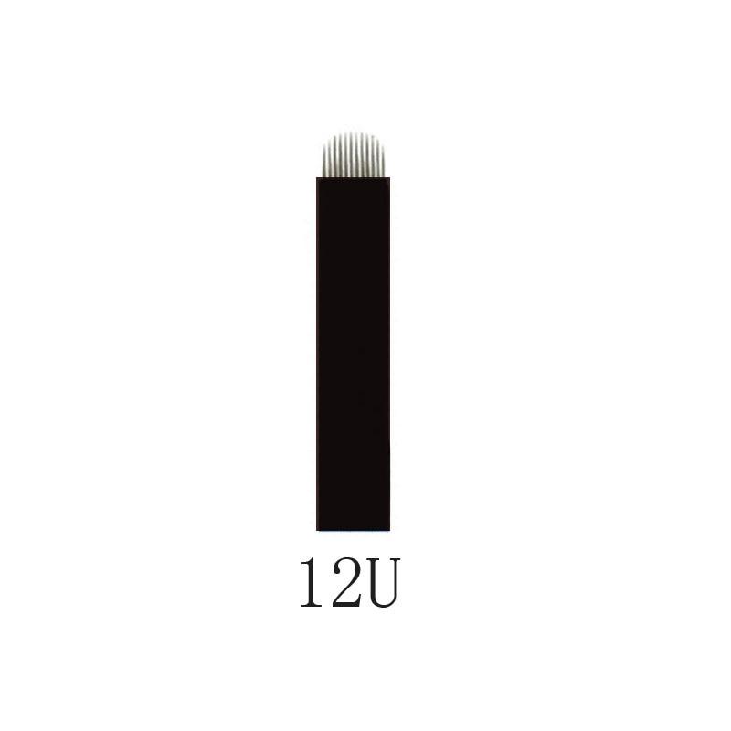 500 Pcs Black 0.20mm 12U 14U 16U 18U Microblading Blade Permanent Makeup Manual Eyebrow Tattoo Needle U Shape