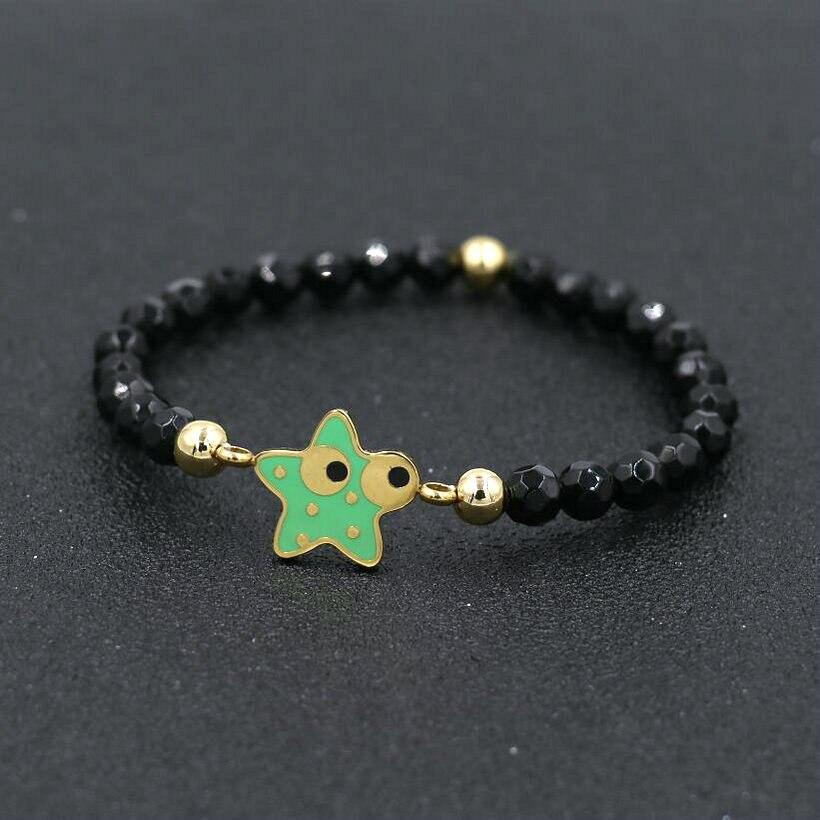 Dainty Stainless Steel Gold Color Sea Star Starfish Charm Bracelet Men Women 6mm Black Pink Stone Energy Love Couple Bracelets
