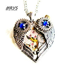 Customized Steampunk Punk Heart Mechanical Watch Parts Gears Pendant Necklace Chain Charm Women Men Boys Girls Vintage Christmas