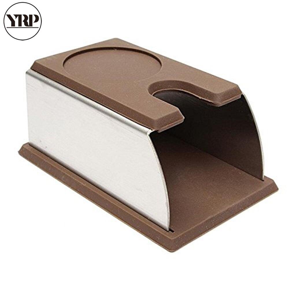 Máquina de Café Inoxidável Silicone Tamper Esteira Café Espresso Estande Rack Barista Ferramenta Calcamento Titular Imprensa Acessórios Yrp Aço