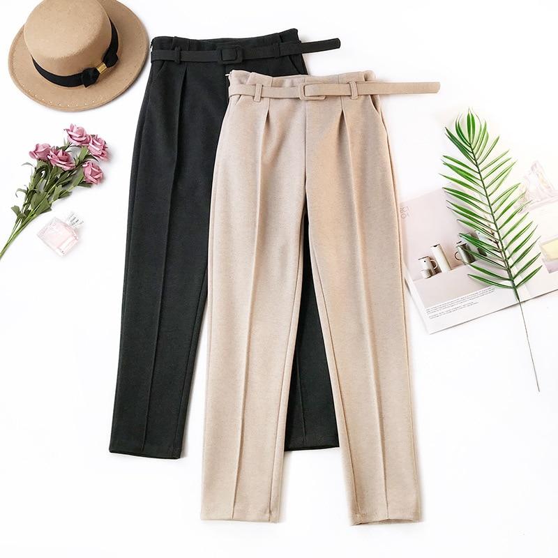 Elegantes fajas Pantalones de mujer 2018 Primavera Verano sólido alto cintura bolsillos Harem pantalones Harajuku Fitness Oficina señora Pantalones Mujer