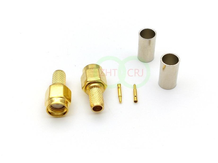 موصل تجعيد ذكر SMA مطلي بالذهب ، كابل RG58 RG142 LMR195 RG400 ، 1000 قطعة