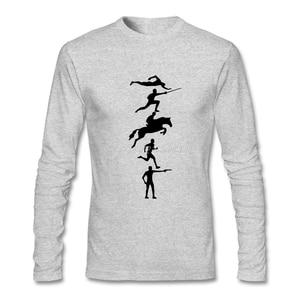 Pentathlon T Shirt Long Sleeve Custom Men's T-shirt Hip Hop Couples Cotton Men's Shirts