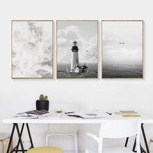 Toiles imprimées de phare   Décoration de maison, plumes impressionnistes et photos murales de mer pour salon chambre à coucher, affiches murales