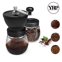 yrp manual ceramic burr coffee bean grinder with fortified glass storage jar durable cafe bean mill coffee maker kitchen tools
