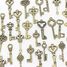 Süße Glocke 40 stücke Gemischt kleinen Schlüssel charme Vintage bronze Metall Zink-legierung Feine Trendy Mixed Anhänger Bezaubert Machen