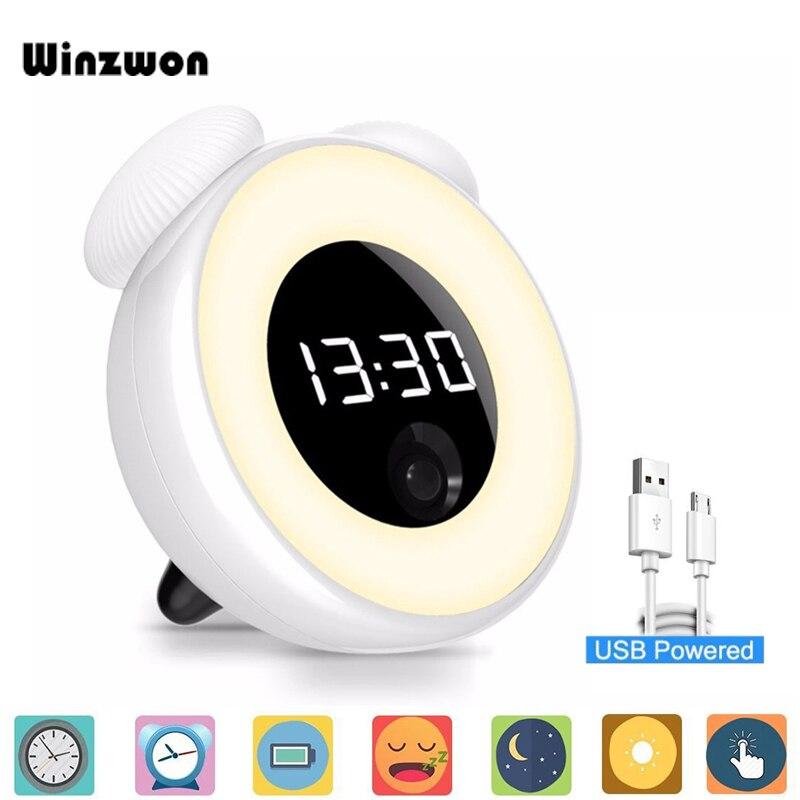 USB Перезаряжаемый цифровой прикроватный будильник сенсорный датчик утренний Повтор часы-будильник светодиодный ночник для украшения домашнего стола