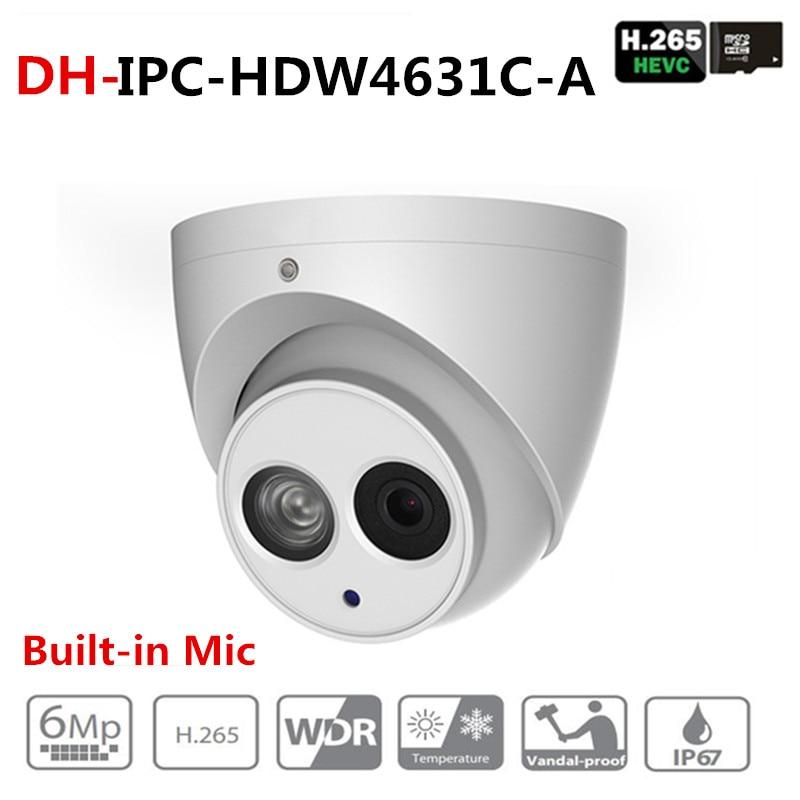 DH IPC-HDW4631C-A 6MP HD POE red IR Mini domo IP Cámara caja de Metal integrado MIC CCTV Cámara Starnight Vision con logotipo DH