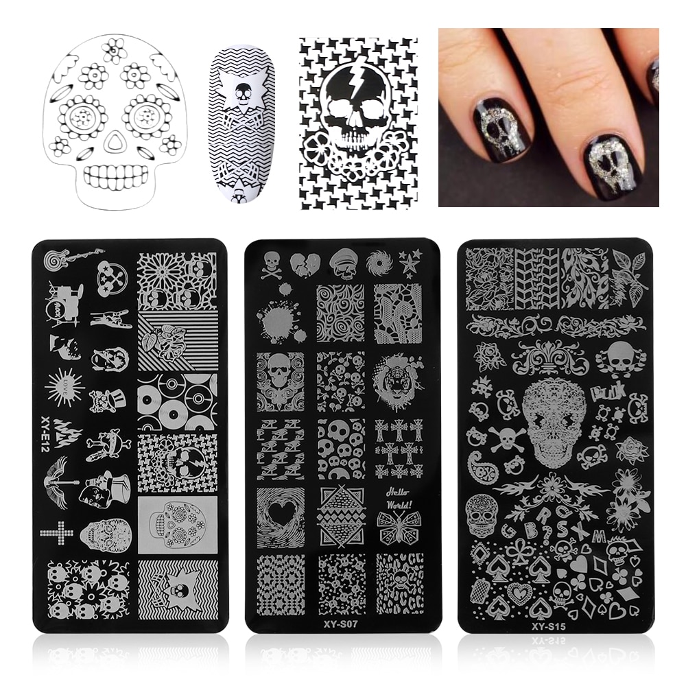 1Pcs 12x6cm Halloween DIY Nail Stamping Plates Owl Skull Bone Spider Image Steel Template Nail Art Manicure Stencil Tools