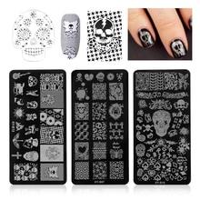 1 pc 12x6 cm ongles estampage plaques crâne os hibou araignée Image acier modèle Halloween manucure pochoir outils