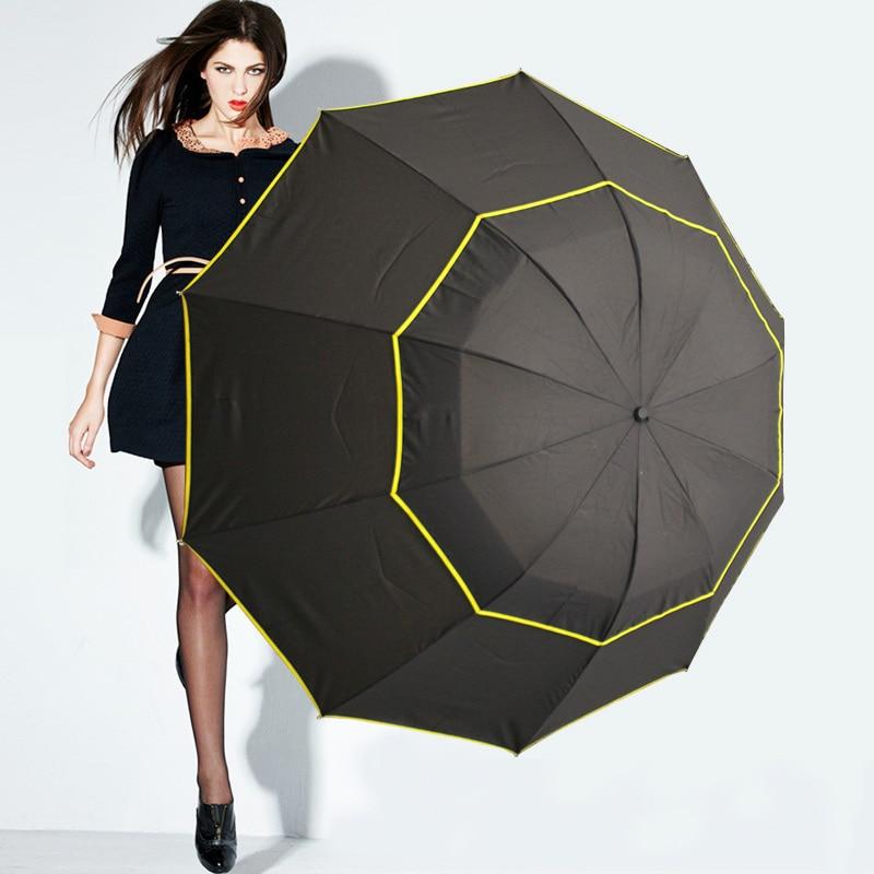 Super Big 130cm Top Quality Umbrella Men Rain Woman Windproof Paraguas Male Women Sun 3 Floding Fashion Business Men Umbrellas