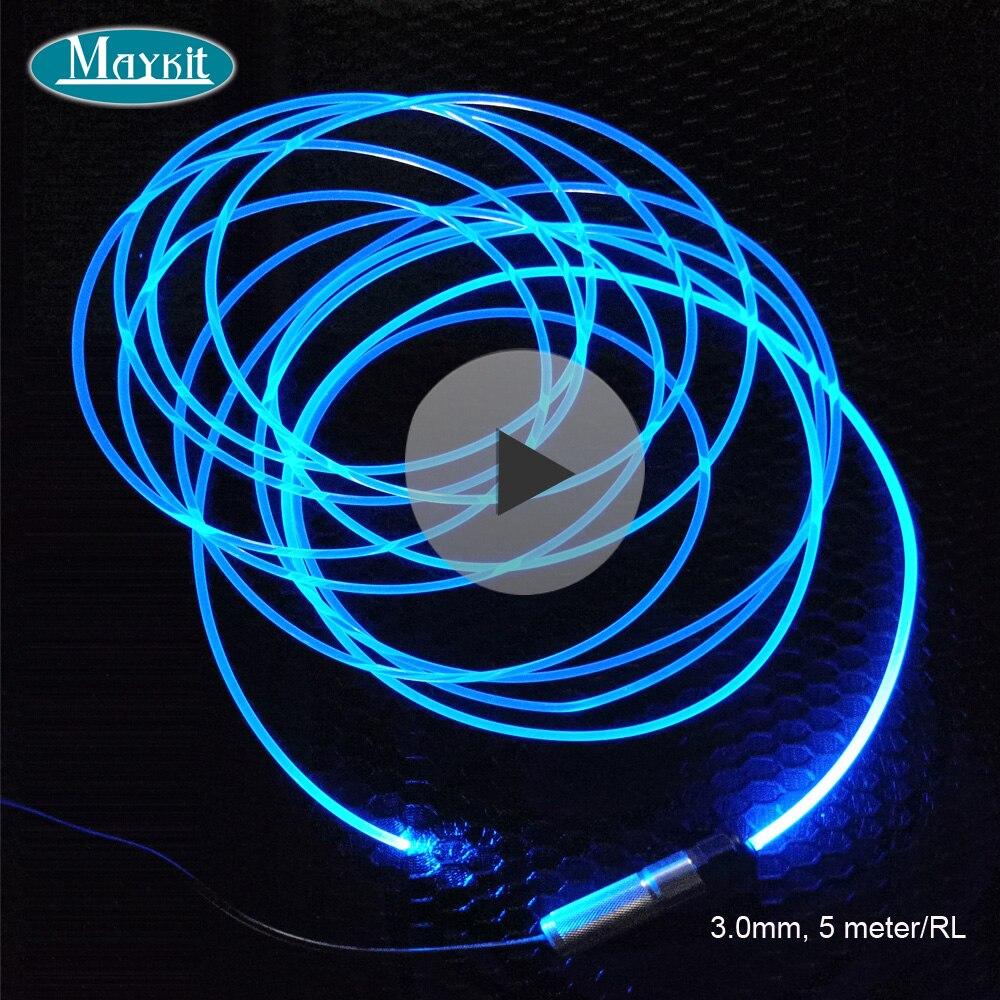 Cable de fibra óptica brillante lateral sólido transparente Maykit de 5 metros y 3,0mm para luz de coche y decoración del hogar