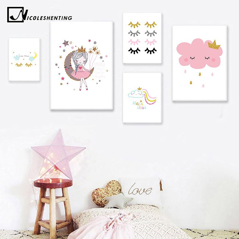 Póster de lienzo de princesas pequeñas para niños, póster de pared para guardería, Impresión de nubes, pintura de arco iris, cuadro decorativo nórdico para dormitorio infantil