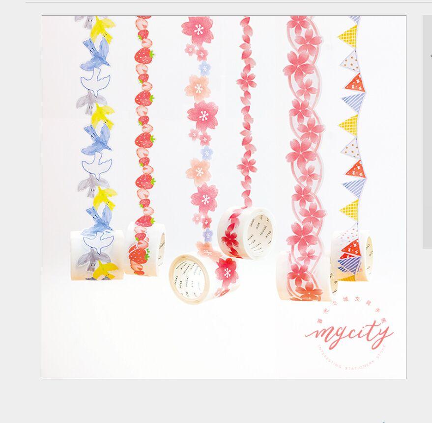 Bandeiras da cor da pétala da flor de sakura romântico pássaros azuis morango fresco Decoração Scrapbooking Masking Tape Washi Tape DIY Planner