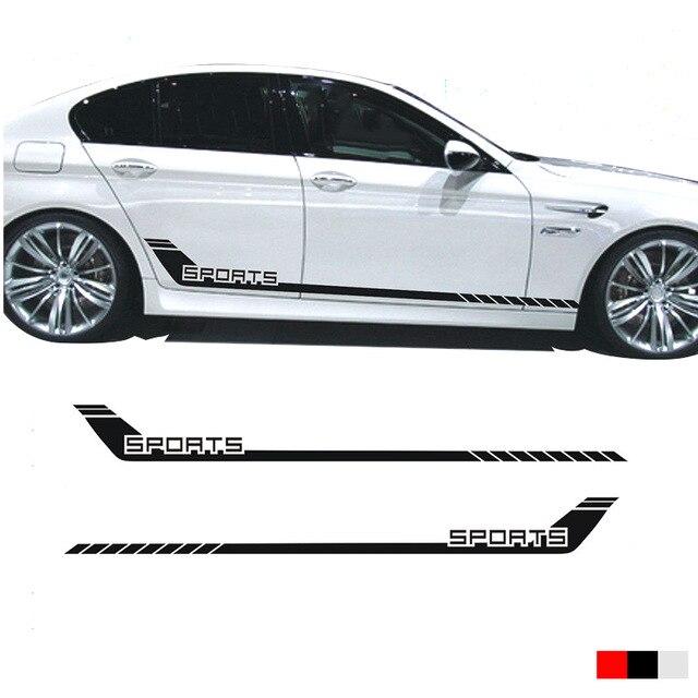 Coche 2 uds coche rayas de competición deportes inferior puerta Panel Calcomanía para 5 Series pegatina lateral coche styling