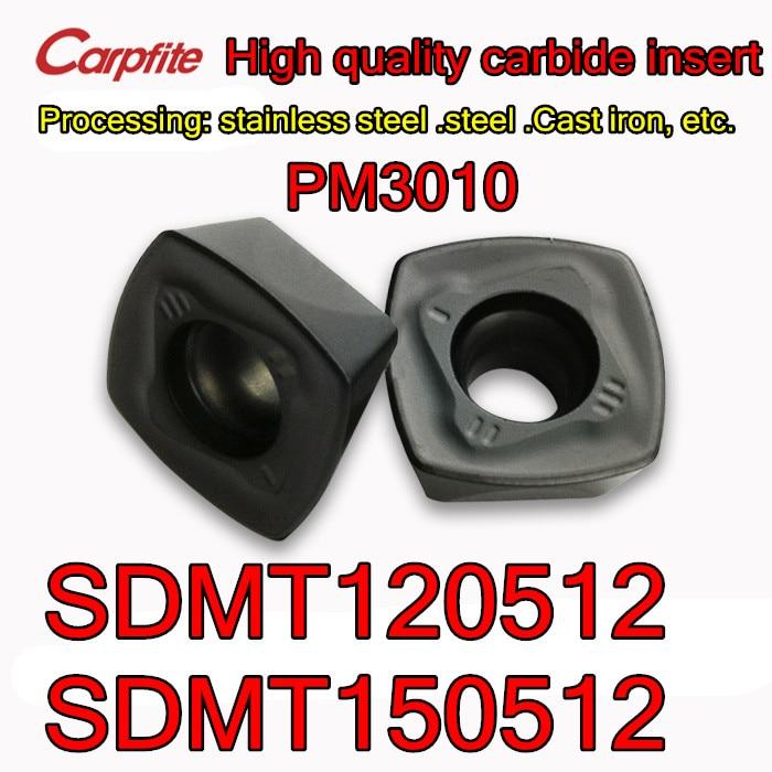 SDMT120512 SDMT150512-PM3010 10 Uds. 50 Uds. Procesamiento de inserción de carburo de alta calidad acero inoxidable. De acero Hierro fundido, etc.