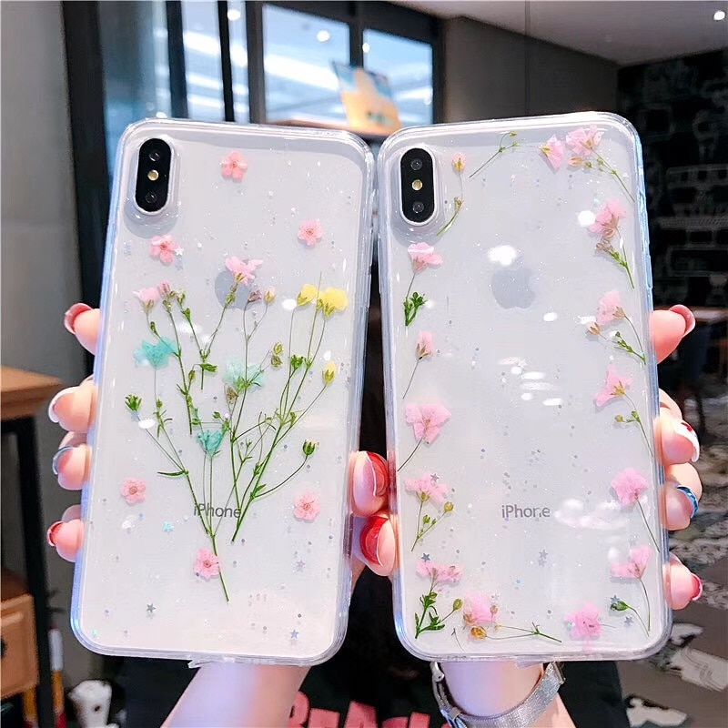 Flores reales secas, hechas a mano, funda transparente para teléfono iPhone 11 Pro Max X 7 8 Plus XS Max XR SE 2020, carcasa trasera de TPU