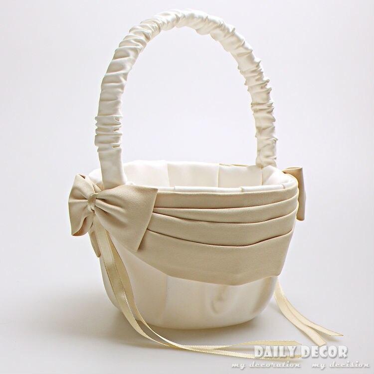 Cesta de satén con lazo para chica, cestas de boda Beige +...