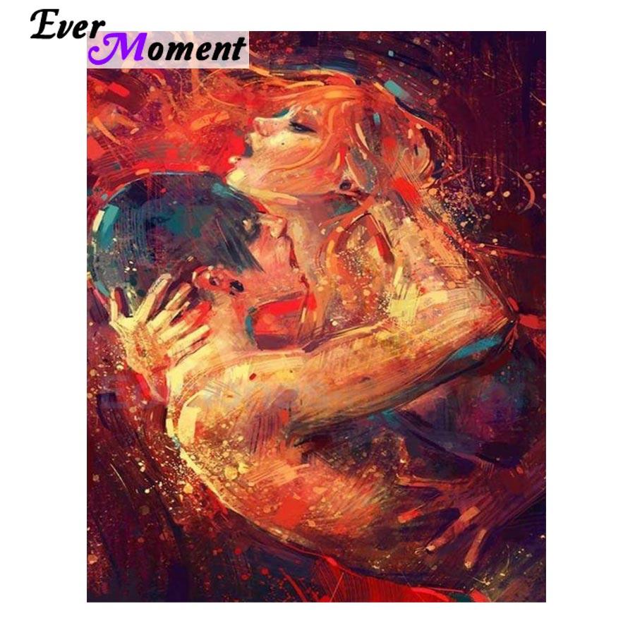 Cuadro Completo de diamantes 5D de Ever Moment, amantes besándose, retrato de diamante, mosaico de diamantes, Cuadrado ASF868