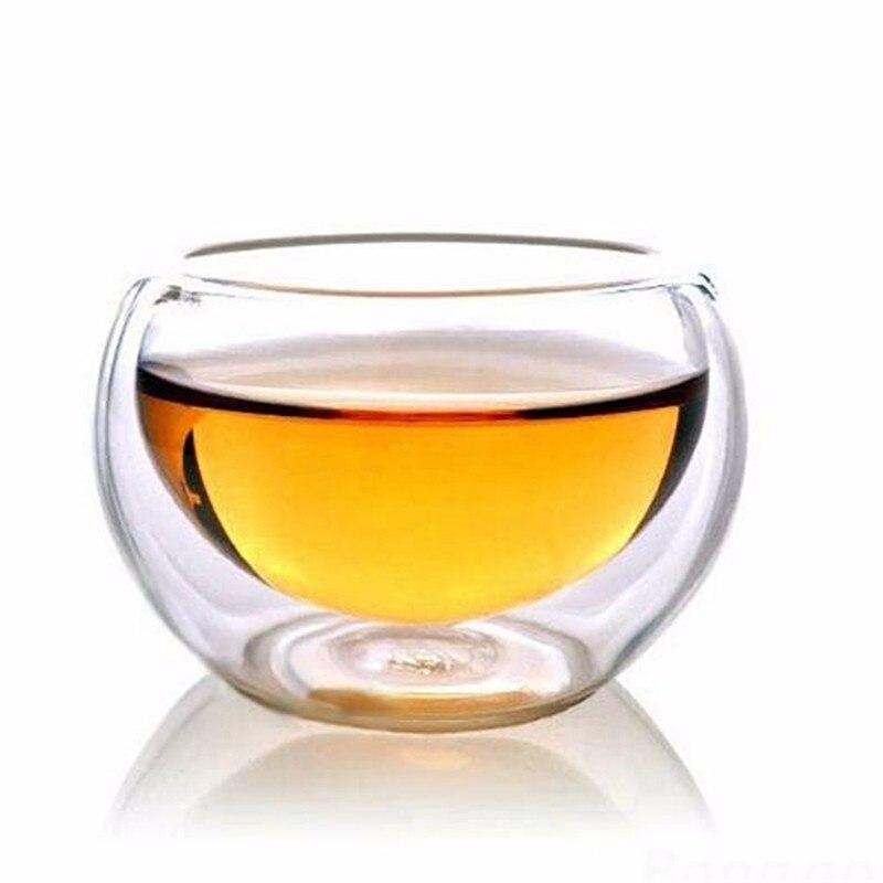 Taza de beber transparente elegante de 50 ML resistente al calor de doble capa de pared de té taza de cerveza de agua de Whisky para té de flores