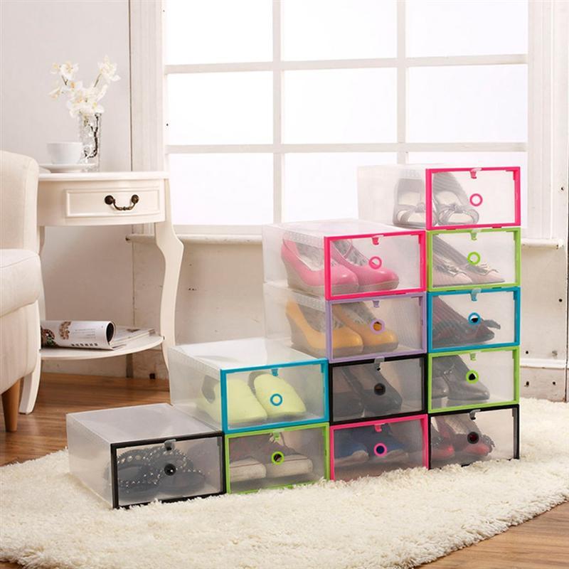 Caja de zapatos plegable de plástico de 8 Uds., caja de plástico transparente para cajón, caja de zapatos para el hogar, caja de almacenamiento apilable para armario