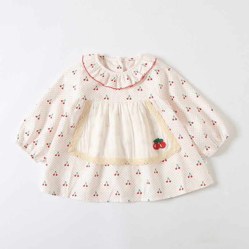 0-4 t romântico rústico outono novo 2019 meninas vestido de manga longa bonito cherry print vestido de bebê meninas adorável roupas
