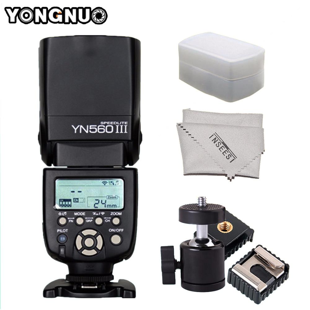Yongnuo YN560-III YN560III YN560 III Speedlite para Canon Nikon Pentax Olympus DSLR cámara inalámbrica Universal Flash y bola
