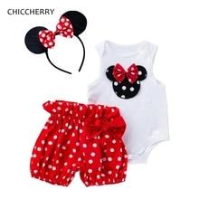Lindo Minnie de verano ropa de bebé niña, body y pantalones bombachos diadema ropa infantil trajes de cumpleaños de bebé forzosamente Bebe Fille