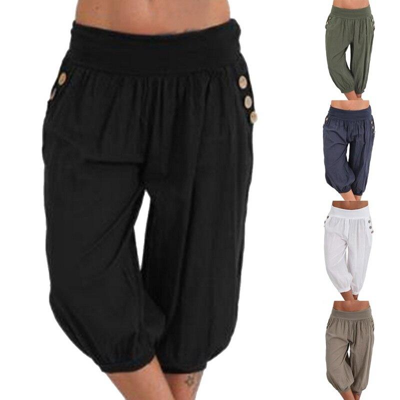 ¡Novedad de 2019! Pantalones de verano para Mujer, Pantalones anchos de pierna, prendas de vestir holgadas a la moda para Mujer, tallas grandes S-5XL