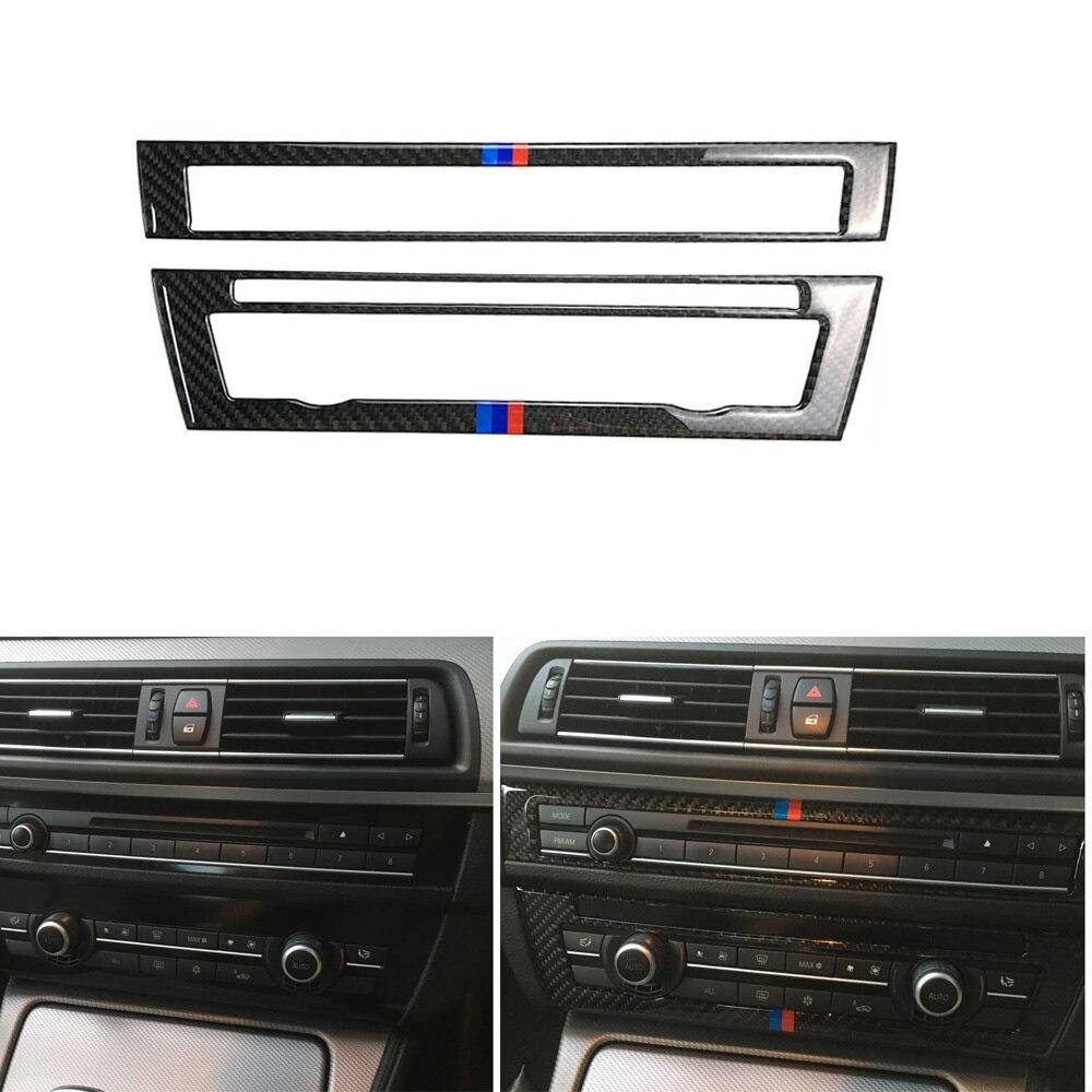 Pegatinas de Panel de Control de fibra de carbono AC + CD pegatina de cubierta embellecedora compatible con BMW F10 5 Series 520i 528i 535i 530i