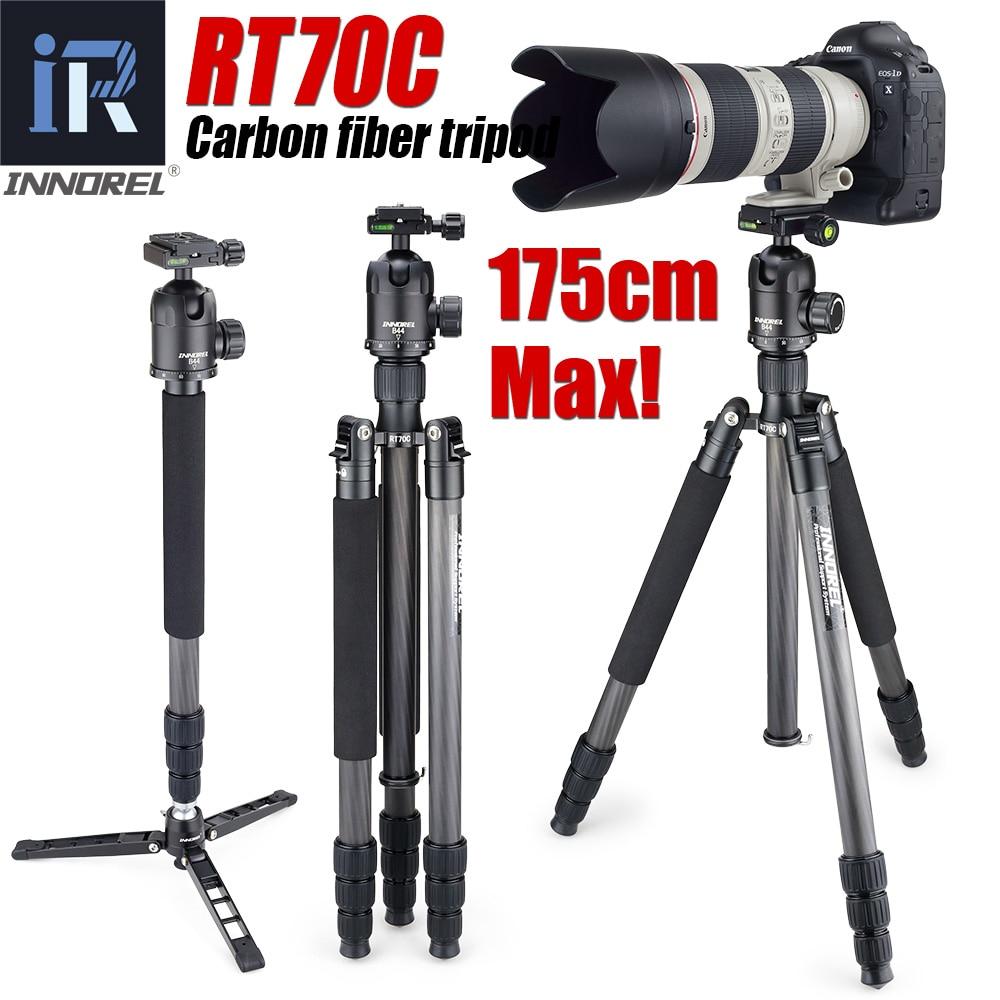 RT70C-حامل أحادي من ألياف الكربون ، للكاميرا الرقمية الاحترافية dslr ، عدسة تليفوتوغرافي ، حامل قوي ، أقصى ارتفاع 175 سنتيمتر