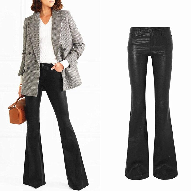 Moda marca comprimento mais longo lavagem de água couro do plutônio flare calças femininas rua punk levantar hip ws finas calças de couro wq209 dropship
