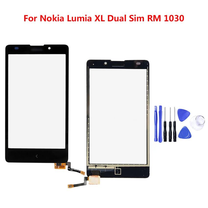 Zerosky para Nokia Lumia XL Dual Sim RM 1030 pantalla táctil probada Panel de lente de cristal frontal del Sensor del teléfono móvil + herramientas
