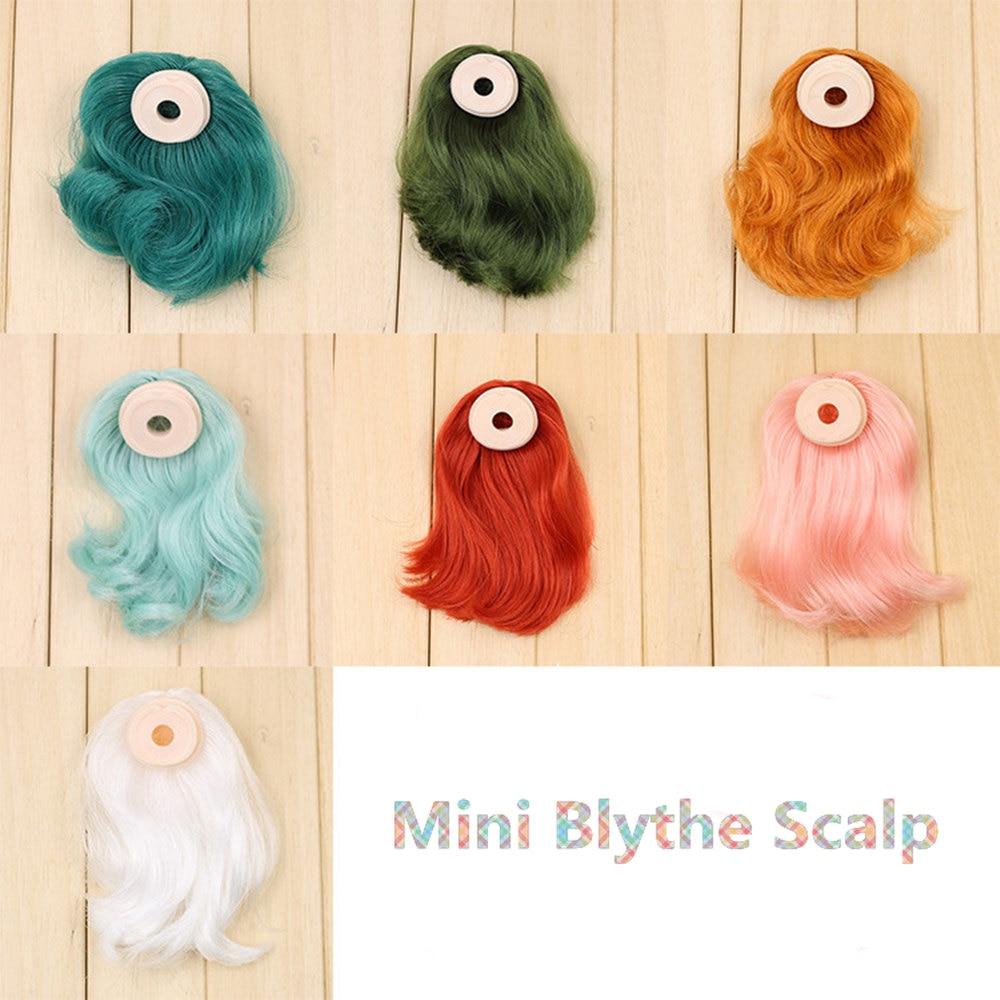 Mini cuero cabelludo para muñeca blyth pelucas flequillo pelo incluyendo la serie endoconch para mini muñeca blyth de 11cm