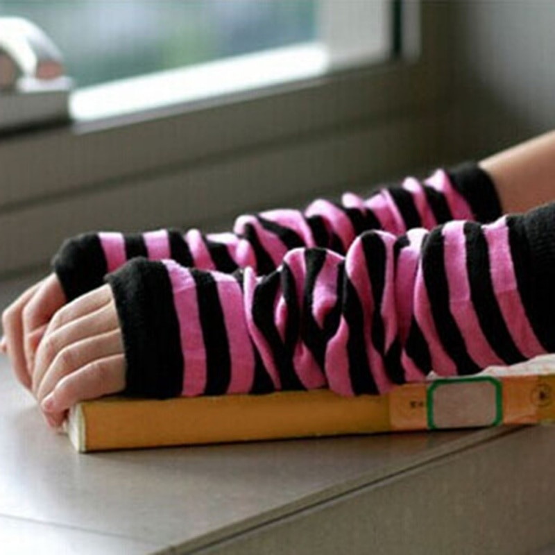 Sexy Women Knit Long Arm Warmers Sleeves Winter Fingerless Gloves Striped Gloves T55