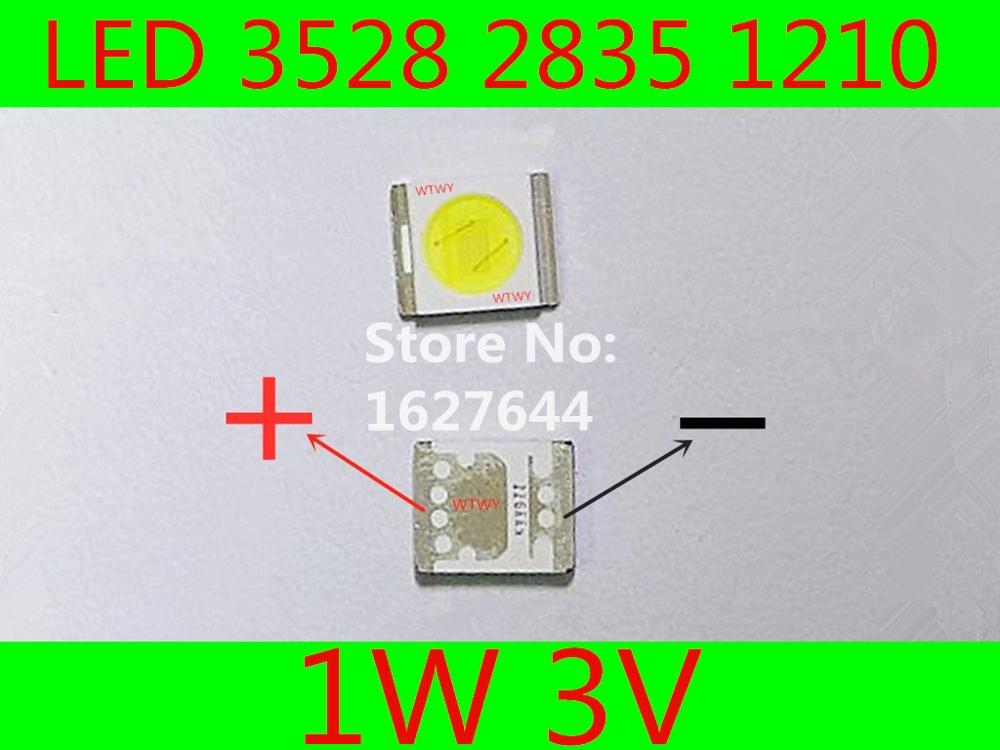 300pcs SEOUL LED 3528 2835 1210 LED Backlight TV High Power 1W 3V 100LM Cool white For LED LCD TV Backlight Application