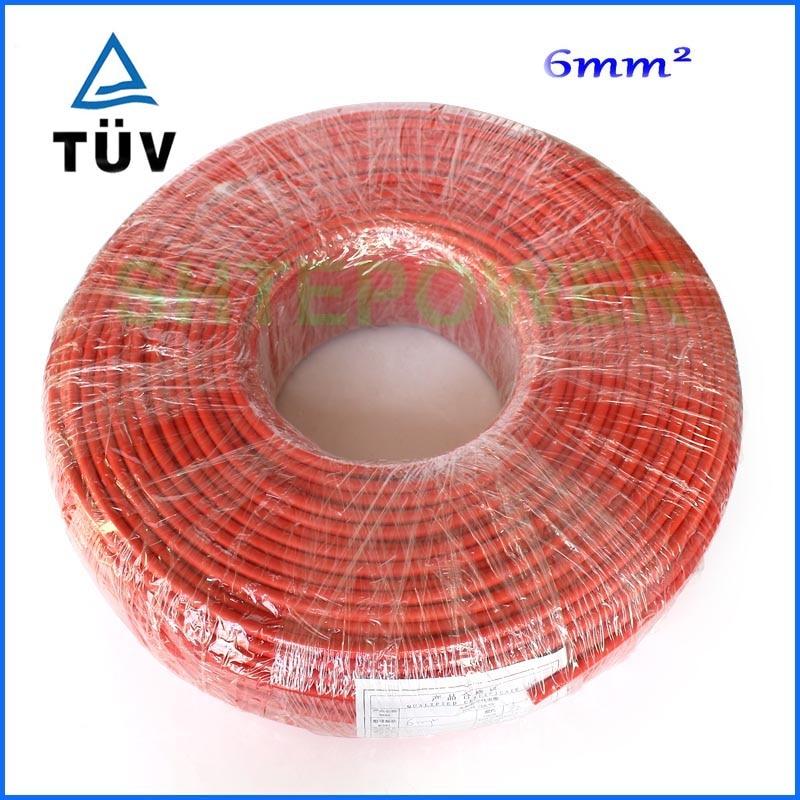 MC4 الشمسية موصل كابل 50 متر/وحدة (أسود كابل أو كابل الأحمر) 6mm2 الأسود أو الأحمر موافقة TUV الطاقة كابل