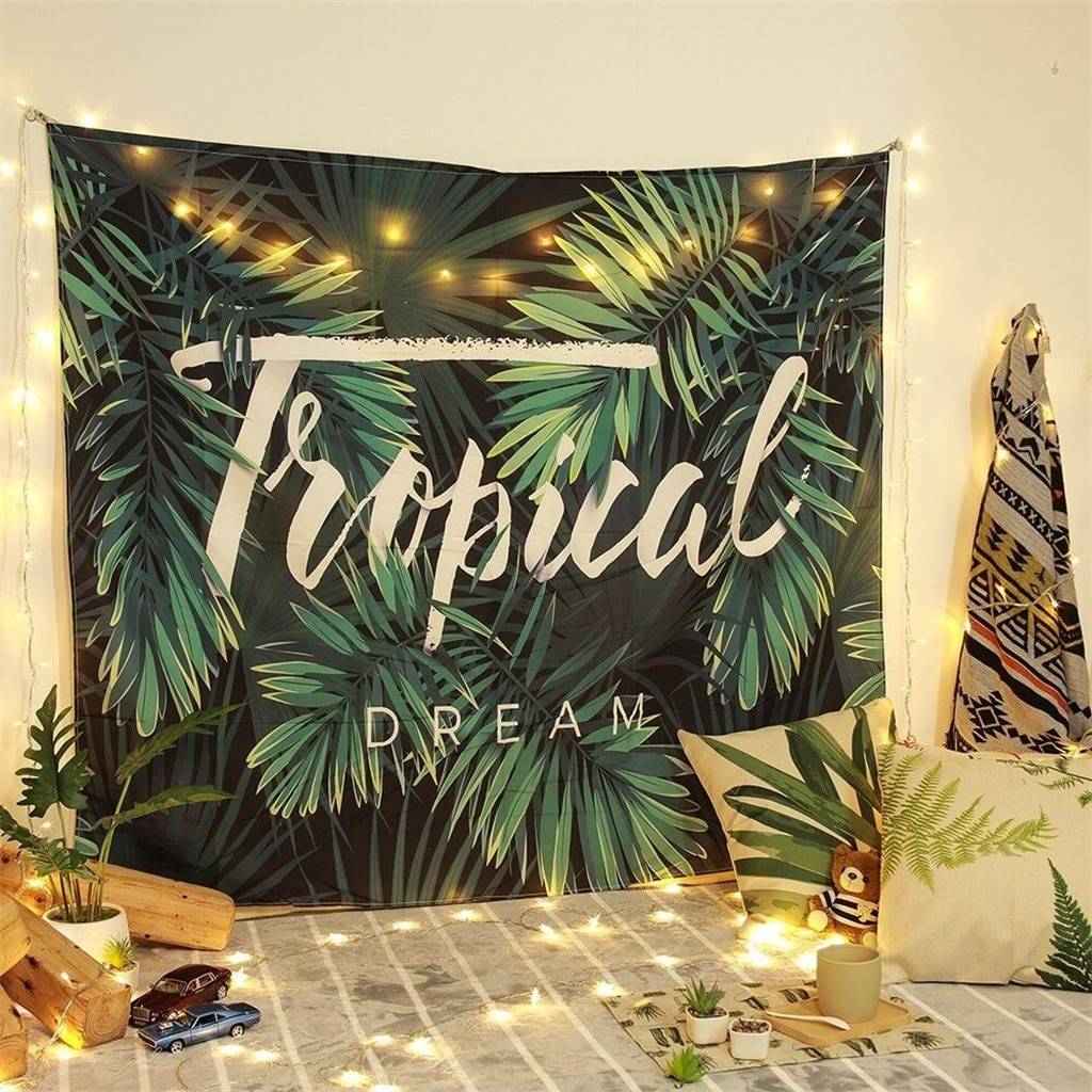 Elemento de planta verde, Impresión de pared, tapiz, lámpara de cuerda, decoración de tapicería para sala de estar y dormitorio, haz tu espacio fantástico 150*200CM