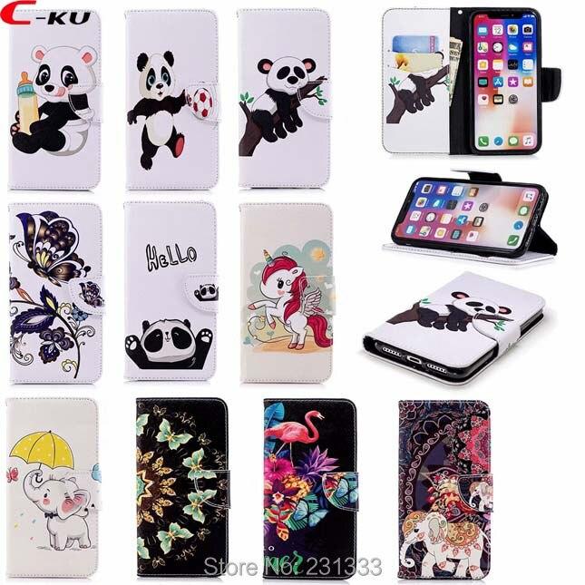 C-ku Panda de dibujos animados billetera de cuero X 8 para Iphone 7 PLUS 7 7 6S 6 5 SE 5S para LG G7 K8 2018 K10 ID Tarjeta de la piel 100 Uds
