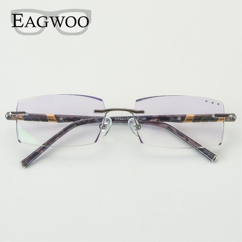 EAGWOO Occhiali Da Vista In Titanio Uomini Senza Montatura Da Vista Miopia Fotocromatiche Diamante Occhiali Frameless Occhiali Montatura Per Occhiali di Visione Finestra 1008