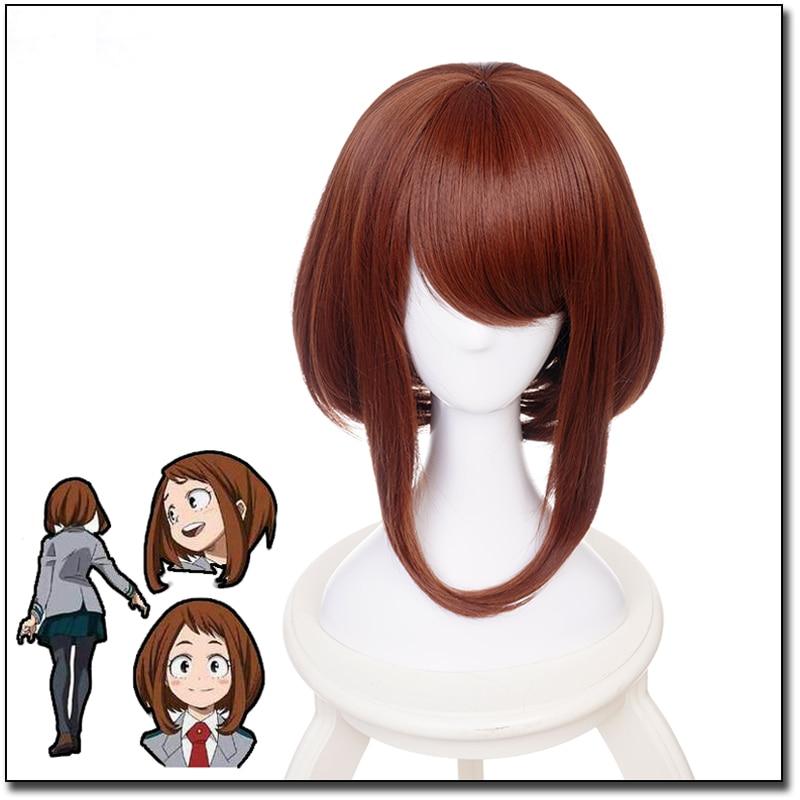 Anime My Hero Academia Boku no Hiro Akademia Uraraka Ochako Short Brown Bobo Heat Resistant Cosplay Costume Wig + Wig Cap