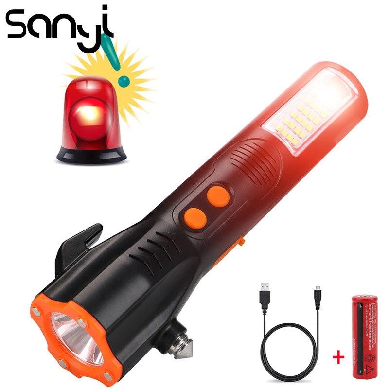 SANYI Multi Funcional Safety Car Janela Disjuntor de Emergência Fuja Martelo com Lanterna LED Luz USB Luz de Aviso Da Tocha